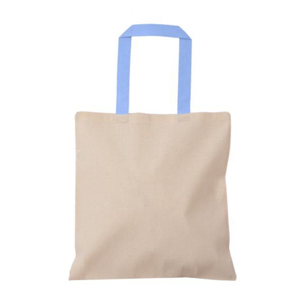 açık mavi kulplu baskısız bez çanta