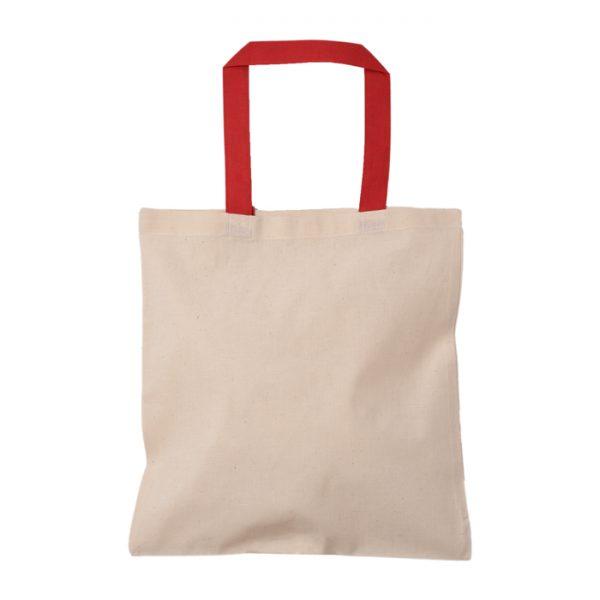 kırmızı kulplu baskısız bez çanta