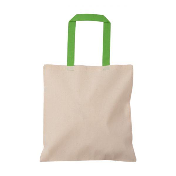 yeşil kulplu baskısız bez çanta